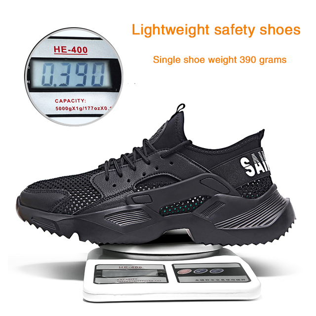 Lightweight safety shoes men shoes steel toe Anti-crush work breathable sneakers wear-resistance work shoes