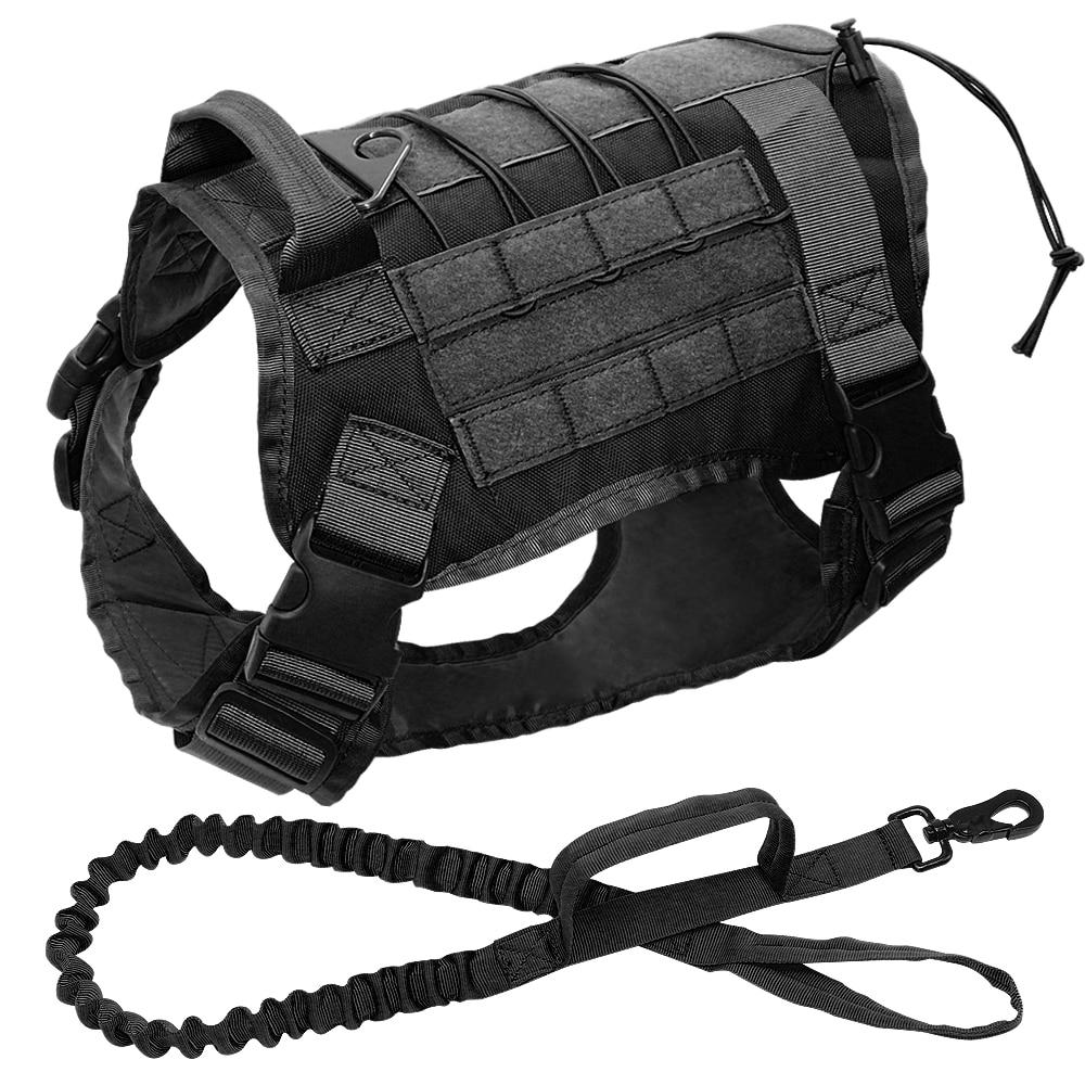 For Medium Large Dog  Shepherd Tactical Dog Vest Harness Working Dog Nylon Bungee Leash Lead Training Running