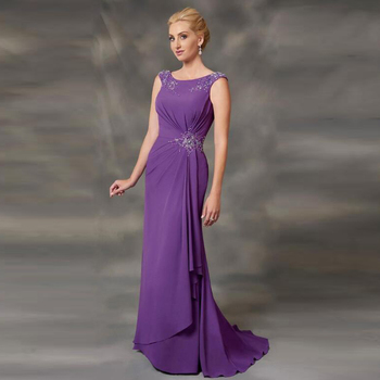Hot Sale Elegant Mermaid Purple Cap Sleeve Mother of the Bride Dresses Jewel Neck Beaded Wedding Guest Gowns Pleating