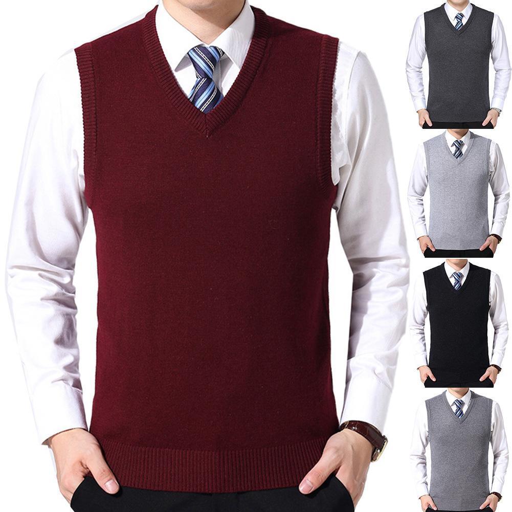 2021 Men Casual Winter Solid Color V Neck Sleeveless Knitted Woolen Plus Size Vest Sleeveless Pullover Men Slim Knitted Waistcoa