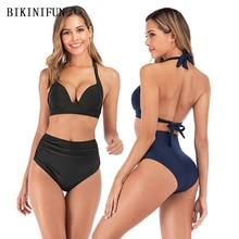 купить New Sexy Solid Color Bikini Women Swimsuit Gather Cup Bathing Suit S-3XL High Waist Backless Swimwear Push Up Padded Bikini Set дешево