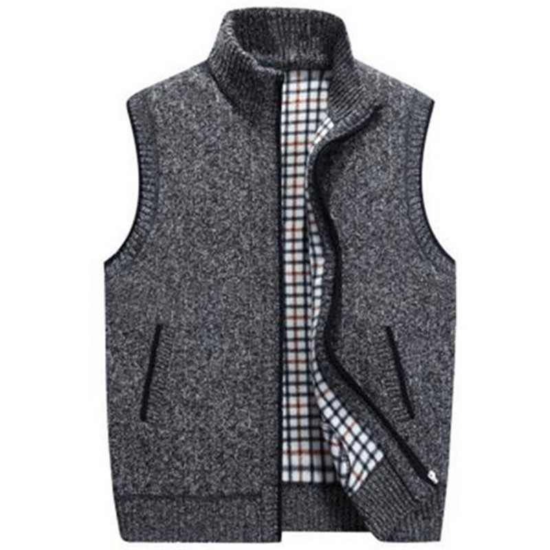 Shujin Mens Winter Lente Wollen Trui Vest Heren Mouwloze Gebreide Vest Jasje Warme Fleece Sweatercoat Plus Size