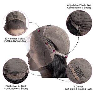 Image 5 - Mshere reta frente do laço perucas de cabelo humano com o cabelo do bebê 150% densidade pré arrancado peruano remy peruca cabelo para preto