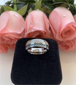 Image 4 - Anillo de boda de tungsteno de 8MM para hombres y mujeres, con incrustaciones de meteorito y fibra de carbono azul, caja de anillo disponible