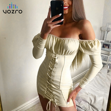 Vozro 2019 Shoulder Long Sleeve Sexy Winter Dress Women Bandage Smocking Split Joint Package Hip Skirt Vestido Dresses Befree