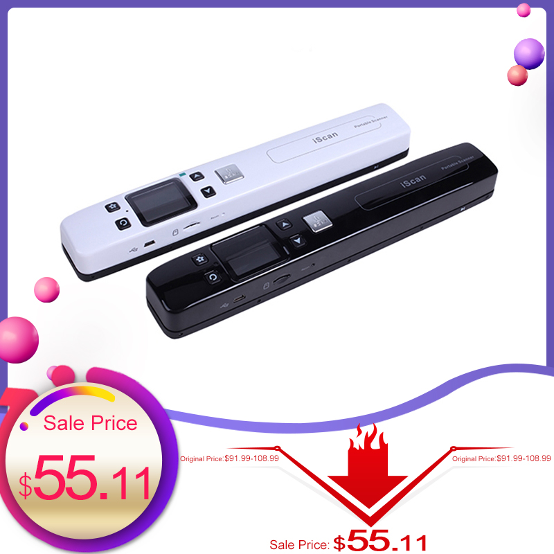 iScan Document Scanner 1050DPI Portable WiFi Scanner A4 Book Wireless Scanner USB2.0 JPG/PDF 32G TF Card LCD Display