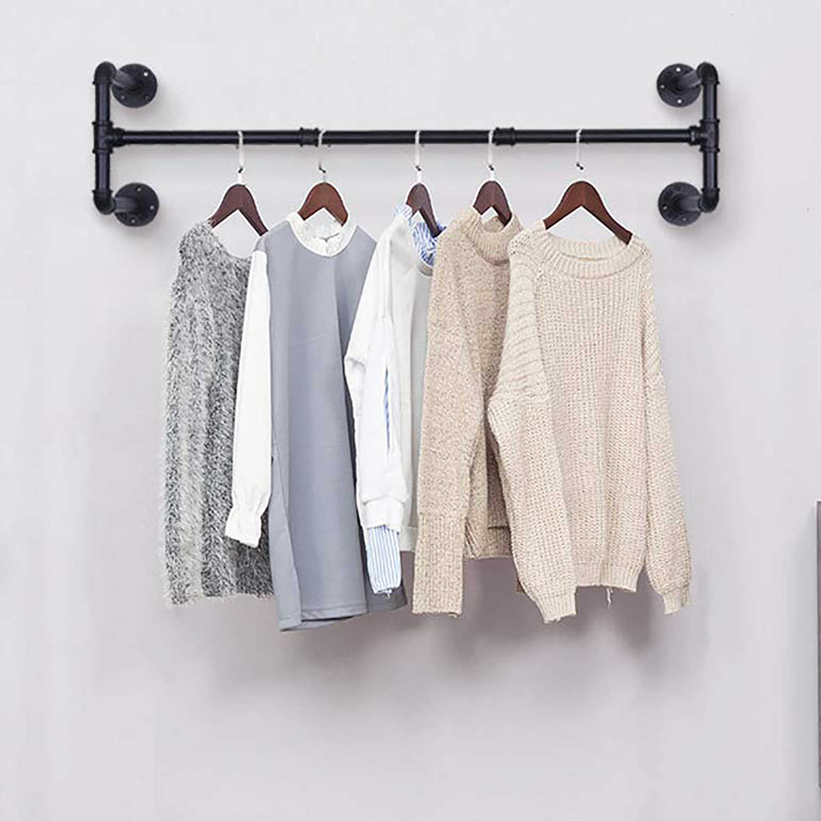 clothes rail shelf industrial pipe