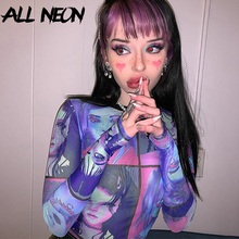 ALLNeon E-girl Cartoon Face Graphic Transparent T-shirts Vintage Patchwork O-neck Long Sleeve with Gloves Mesh Tops Summer Y2K
