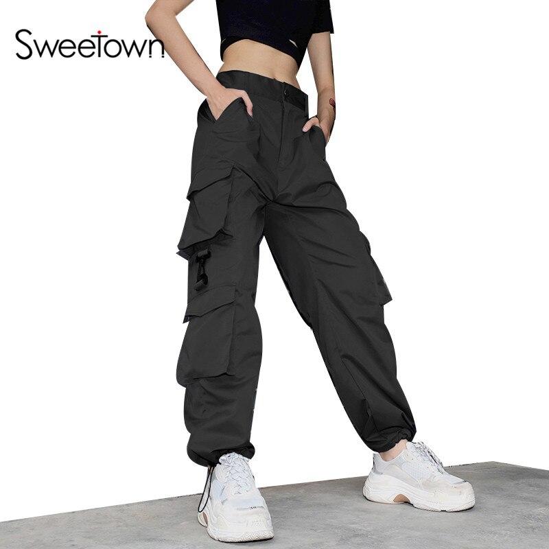 Sweetown Black Cotton Plus Size Cargo Pants Women Blue Loose Pockets Trousers Women Streetwear Elastic High Waist Baggy Pants