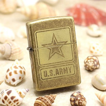 Genuine Zippo oil lighter copper windproof Archaize US ARMY stars cigarette Kerosene lighters Gift With anti-counterfeiting code(China)