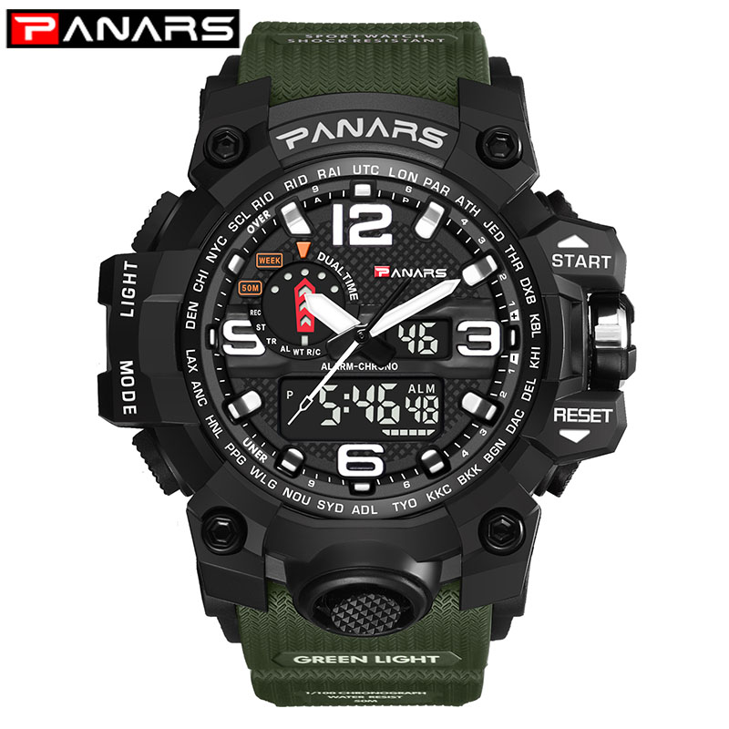 PANARS Digital Watch Men's Army Green Military Fashion Style Sports Waterproof Army Watch LED Electronic Wrist Watches For Men