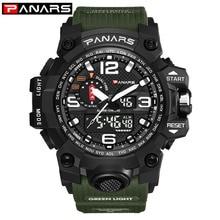 PANARS Digital Watch Men's Army Green Military Fashion Style