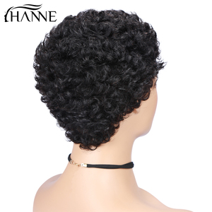 Image 3 - Kurz Menschliches Haar Perücken Bob Perücke Für Schwarze Frauen Brasilianische Remy Haar Perücke Für African American Flauschigen Lockiges Freies Shipp HANNE Haar