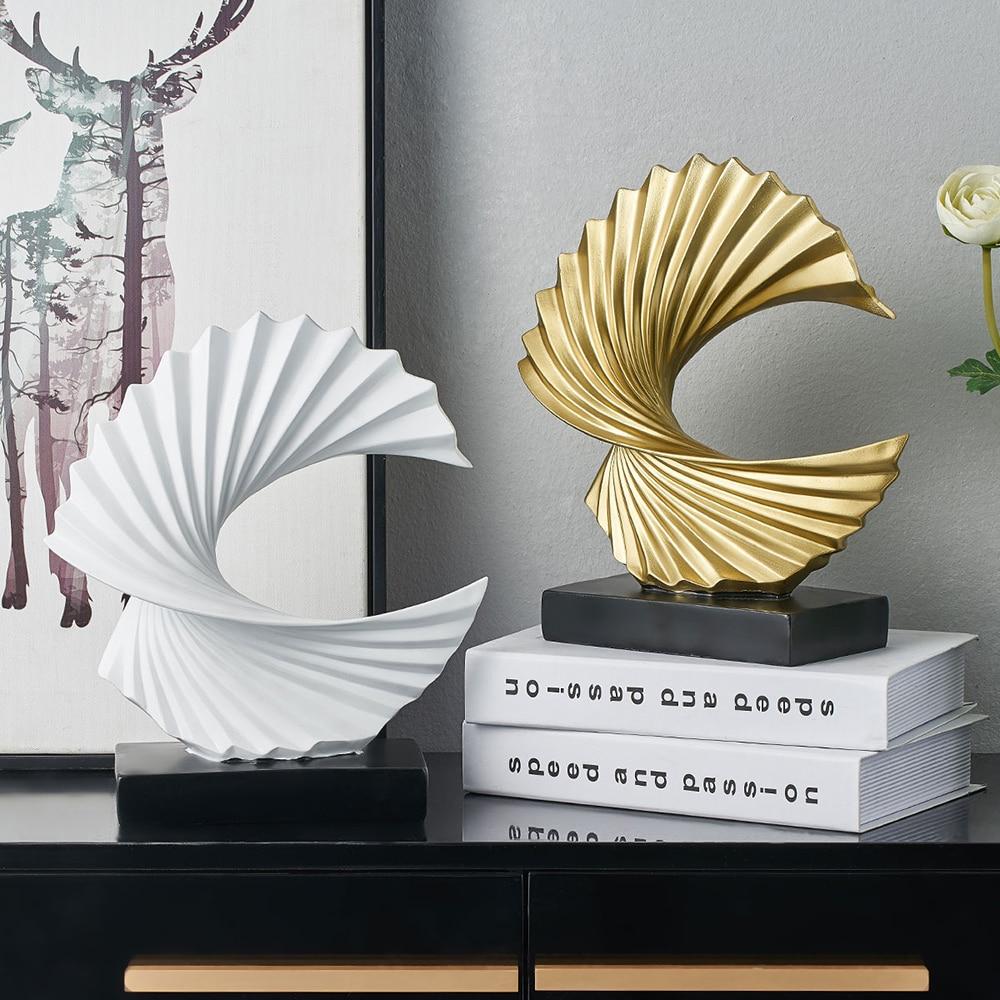 Modern Golden Abstract Sculpture Resin Decoration Home Decoration Office Desk Decoration Accessories Gift Sculpture Modern Art