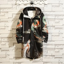 #3951 Spring Chinese Style Vintage Black Printed Trench Coat For Men Hooded Casual Long Coats Plus Size 5XL Retro Mens Overcoat