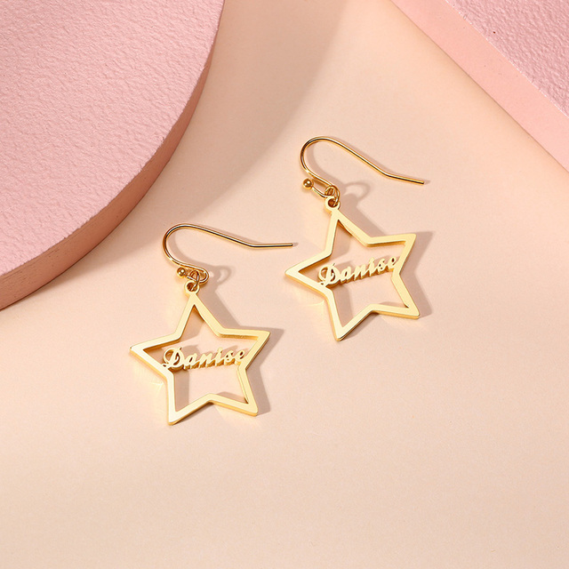 Brincos de gota de nome personalizado feminino personalizado aço inoxidável balançar brincos jóias para seus melhores amigos presentes 3