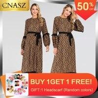 Muslim Leopard Print Long Maxi Dress Women Swing Abaya Kaftan Jilbab Gown Islamic Arab Dubai Dress With Belt Chiffon Dress