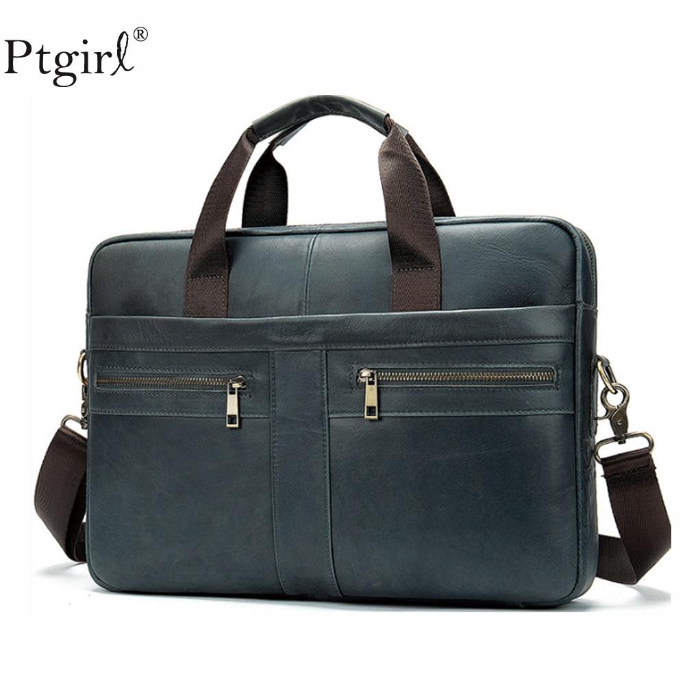 Fashion Genuine Leather Briefcase Bag Men's Laptop Bag Natural Leather For Men Messenger Bags Men's Briefcases Bandolera Hombre