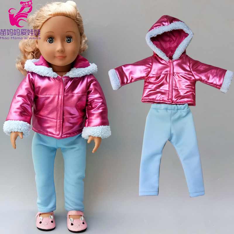 Born Baby Doll Jacket Purple Color Hooded Coat 18 Inch American Doll Clothes Winter Coat