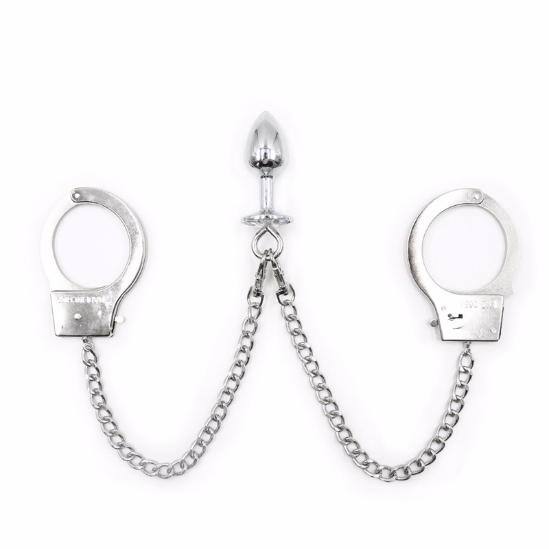 Metal Tail Plug Handcuffs Anal Plug Slave Bdsm Women Handcuffs Fetish Bondage Restraints Sex Toys For Men Gay Adult Products