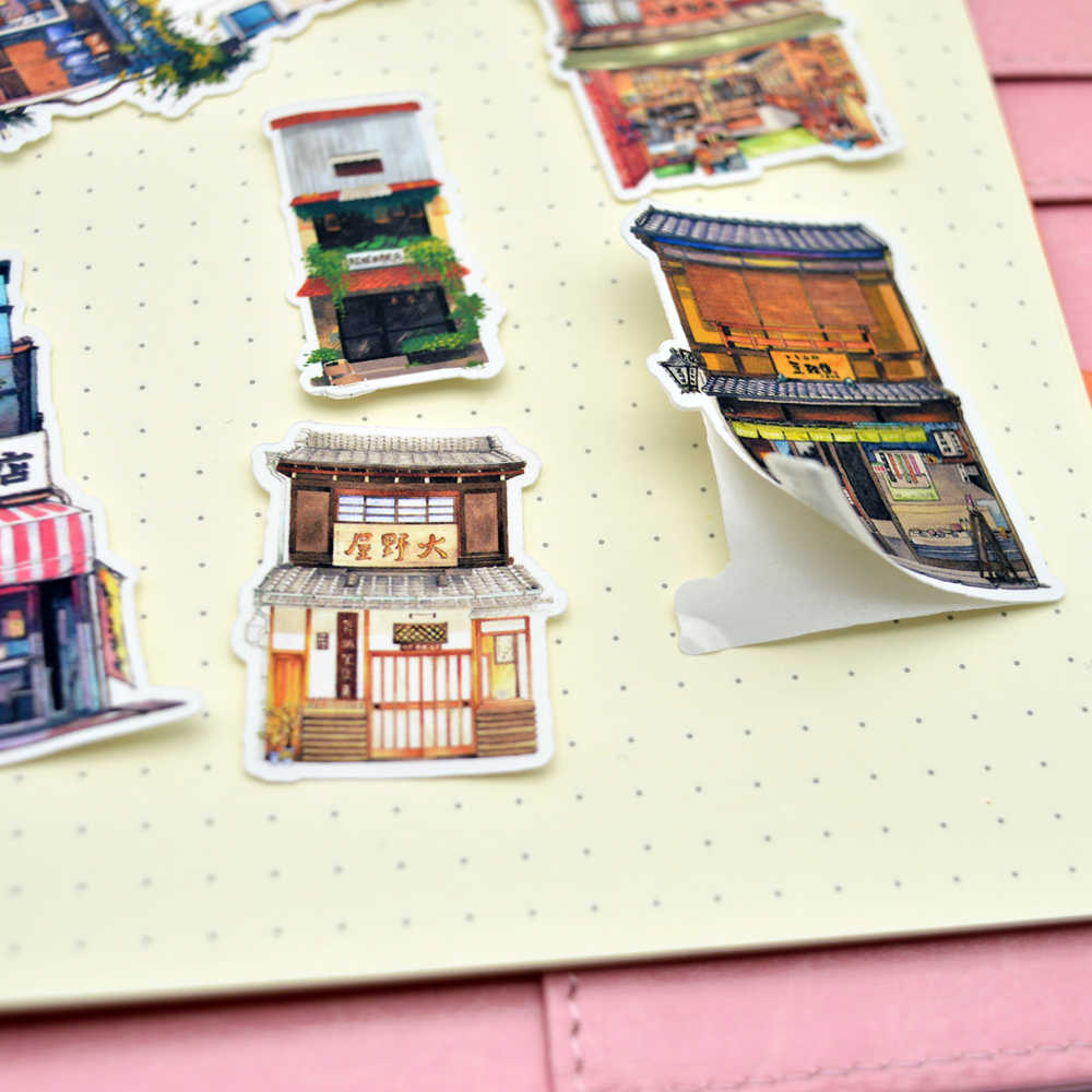 28pcs Kawaii Japanese Building sticker planner decoration dry glue pegatinas/hand book Diary stationery Stickers scrapbooking