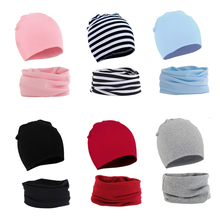 New Baby Beanie Cap for Girls Boys Cotton Baby Hat Scarf Set Kids Cap Elastic Candy Color Toddler Kids Hat 15 Colors