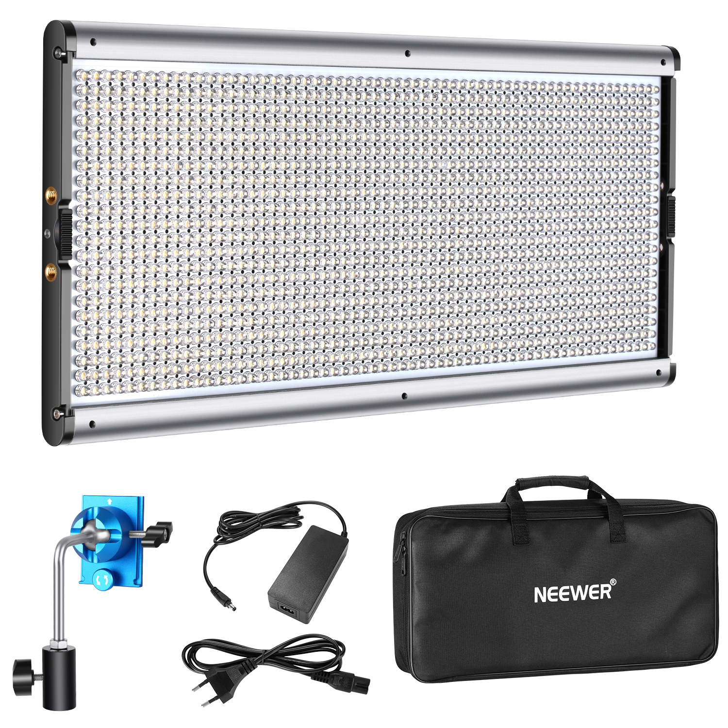 Neewer Dimmable LED Video Light Photography LED Lighting with Metal Frame 1320 LED Beads <font><b>3200</b></font>-5600K, DC Adapter/<font><b>Battery</b></font> Power image