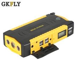 GKFLY de alta potencia de arranque de coche 600A 12V dispositivo de arranque banco de energía de gasolina diésel cargador de batería de coche arrancador de coche LED