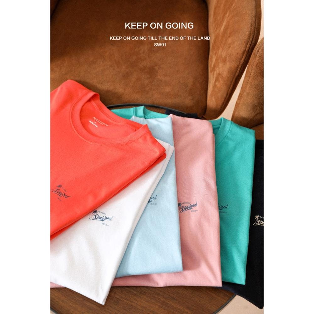 SIMWOOD 2020 Summer New 100% Cotton T-Shirt Men Logo-Print Soft Comfortable Tops Breathable Fashion Loose Tees Plus Size T Shirt