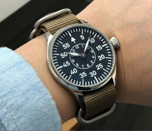 44mm nie logo czarna tarcza dwie ręce azjatyckich 6497 17 klejnotów mechaniczne ręcznie nakręcany ruch mężczyzna zegarka zegarek świetlny pa173 pp8