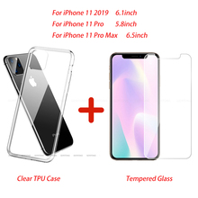 2 in 1 Slim Clear Soft TPU Silicone Cover for iPhone 11 Pro Max 2019 Case & Screen Protector Safety Glass for iPhone 11 Pro Hot griffin survivor slim 2 in 1 silicone