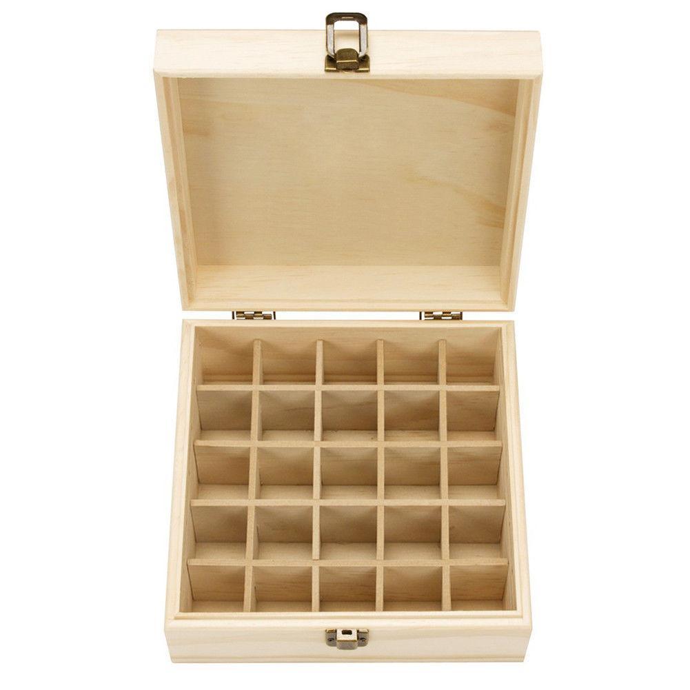 25 Slots Essential Oil Bottle Display Wooden Storage Box Container Organizer