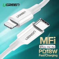 Câble de USB C Ugreen au câble de foudre pour iPhone X XS XR 8 36 W PD câble de données de câble de USB type C de charge rapide pour Macbook USB C ord
