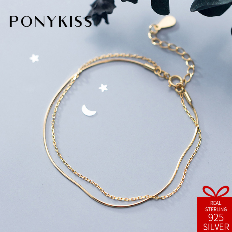 PONYKISS Trendy 100% 925 Sterling Silver Double Layer Golden Bracelets Women Dance Party Fine Jewelry Birthday Delicate Gift