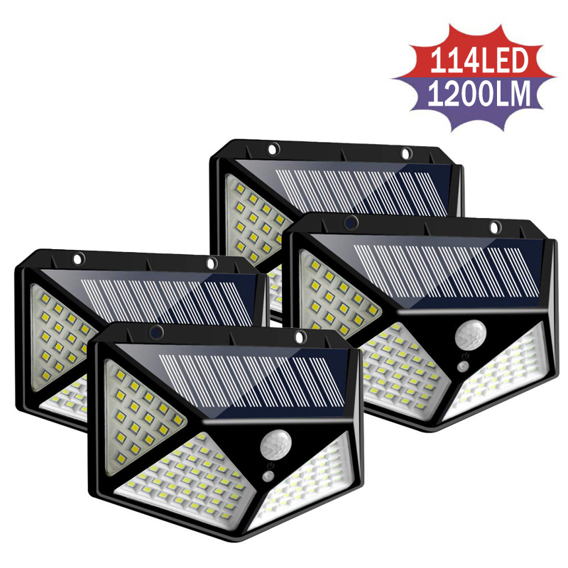 100/144 LED Four-sided Solar Power Light 3 Modes 120 Degree Motion Sensor Waterproof Angle Wall Lamp Outdoor Patio Garden Lamps