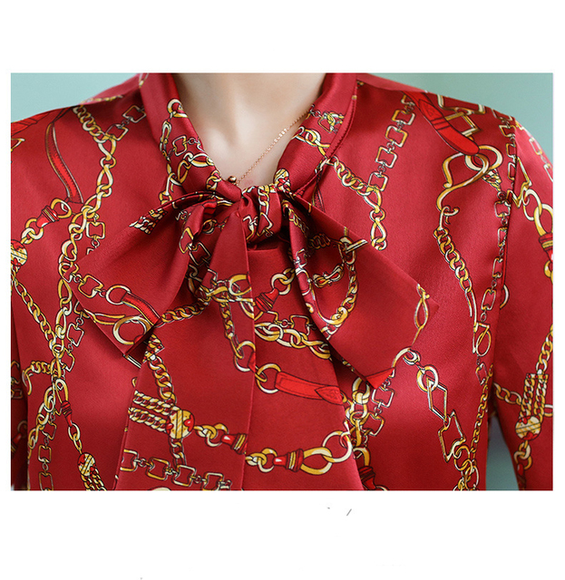 Blouse 2019 fashion new bow ladies office chiffon shirt casual chain print top 6