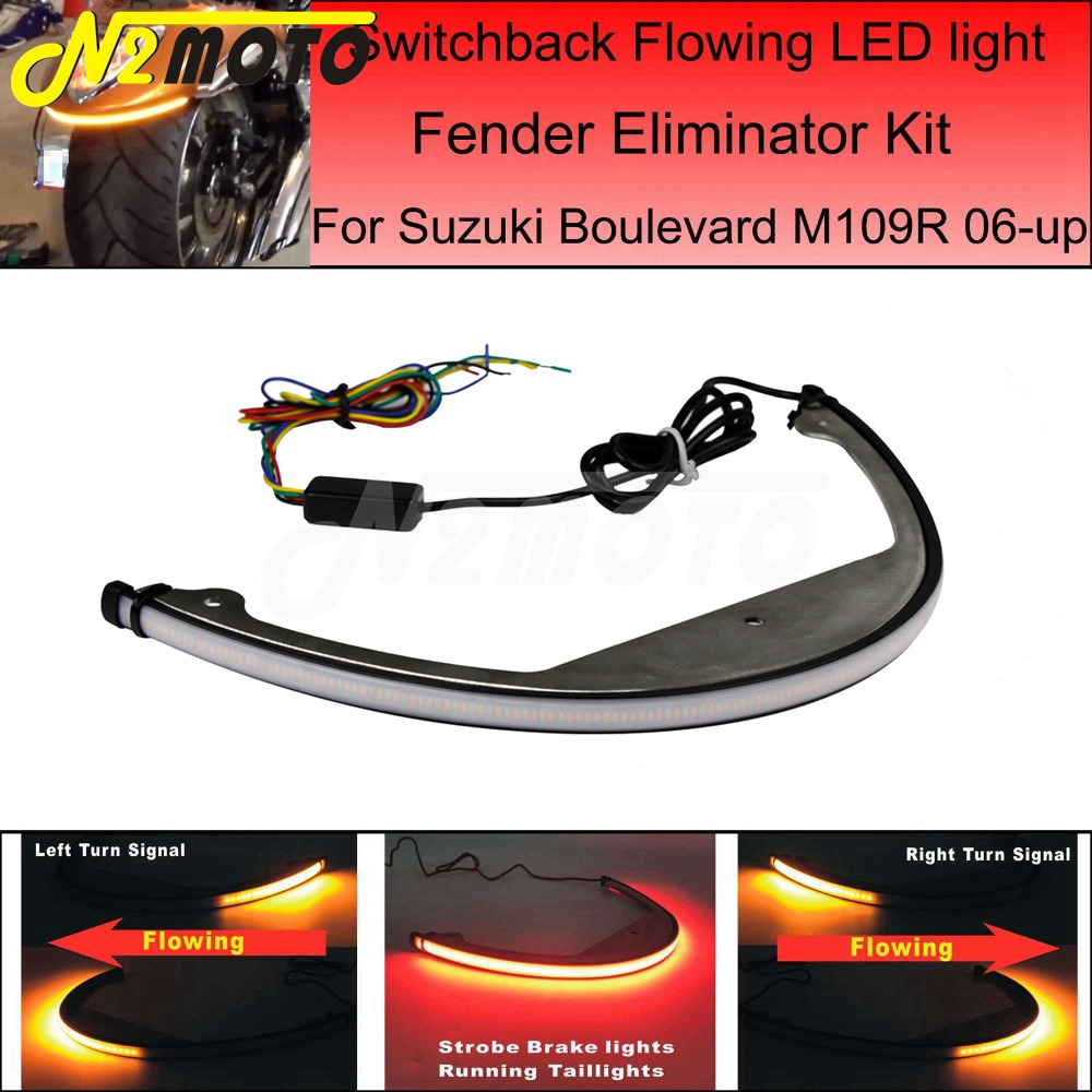 Fender Eliminator Kit Taillights Sequential Flowing LED Turn Signal Light For Suzuki Boulevard M109R M90 2006-UP
