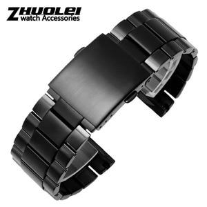 Image 2 - גבוהה באיכות רצועת עבור DZ4318 4323 4283 4309 מקורי סגנון נירוסטה רצועת השעון זכר גדול שעון מקרה צמיד 26mm שחור