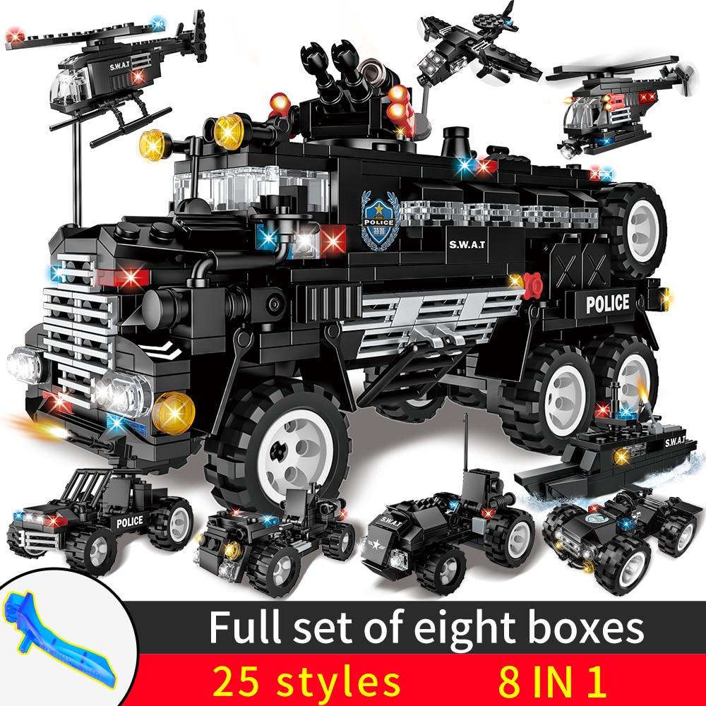 8 в 1 SWAT City Police Series строительные блоки Автомобильная игрушка ehicle вертолет кирпичи блоки игрушки для детей мальчиков спецназ команда