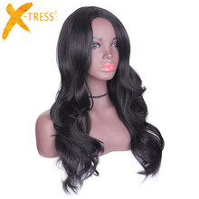 X-TRESS Side Part Ombre Color Natural Black Synthetic Hair wigs Long Loose Wave Curly Heat Resistant Fiber Wig For Black Women(China)