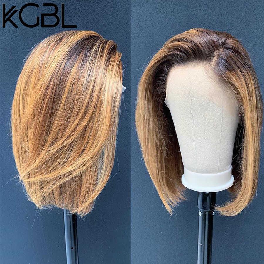 "KGBL corto Bob Ombre 4/27 Color 13*4 encaje frente medio Ratio 8 ""-16"" pelucas de cabello humano brasileño no Remy pelo predesplumado pelucas"