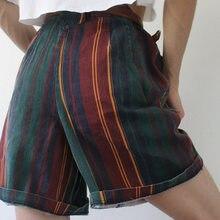 2021 primavera solta calças curtas com bolso roupas femininas streetwear curto novo verão vintage listrado high street colorido shorts