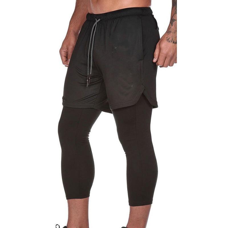 College Running Shorts Men's 2 in 1 Security Pocket Shorts Men Leisure Shorts Hips Hiden Zipper Pockets Built-in Pockets MKY006