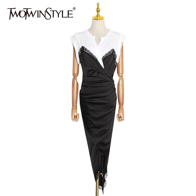 TWOTWINSTYLE Elegant Patchwork Lace Women Dress O Neck Short Sleeve High Waist Irregular Hem Hit Color Satin Dresses Female Tide