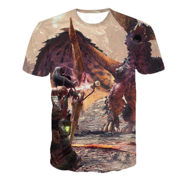 3D Short Sleeve O Collar Monster Hunter Game T-shirt 3D Digital Print Loose Slim T-shirt Men's Shirt T-shirt 5XL Dropshipping