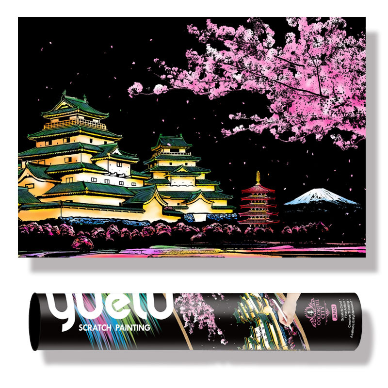 75*52cm City Night View DIY Scratch Painting Set Adult Art Crafts Landscape Scraping Kits Home Decor. Painting Christmas gift