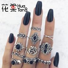 Hua Tang 11 unids/set anillos de diamantes de imitación negros para Mujeres Hombres cráneo tallado Flwoers geométrico fiesta joyería regalo al por mayor 10057
