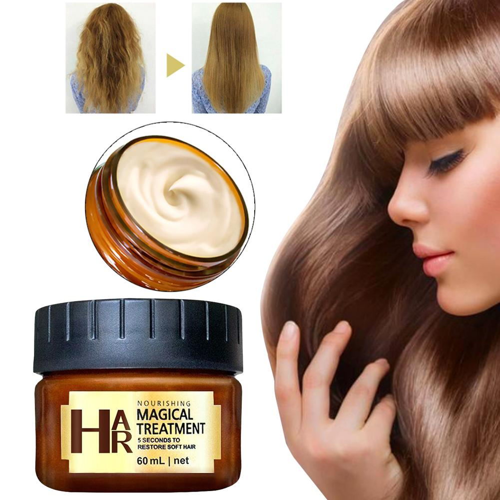 1pc Treatment Mask 5 Seconds Repairs Damage Restore Soft Hair 60ml For All Hair Types Keratin Hair & Scalp Hair Deep Conditioner image