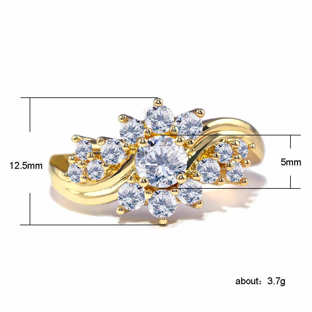 Creative หญิงหิมะสีขาว Zircon แหวนโรแมนติกสีเหลืองทองสีงานแต่งงานแหวนแฟชั่น Wave สัญญาหมั้นแหวน