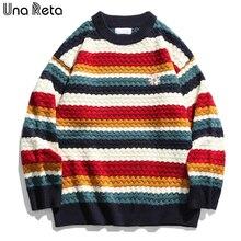 Una Reta RainBow Stripe Sweater Men New Harajuku Winter Men Clothing Embroidery Flowers Loose Sweater Pullover Oversized Sweater